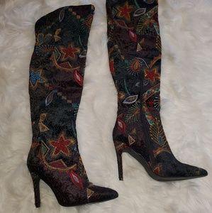 Fashion Nova Shoes - Embroidery thigh high boots